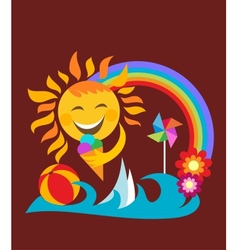 summer set happy sun vector image