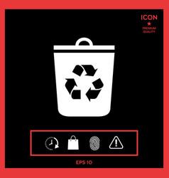 trash can recycle bin icon vector image vector image