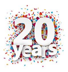 Twenty years paper confetti sign vector image vector image