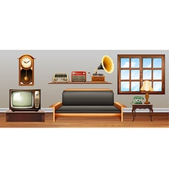 Vintage objects in the living room vector image vector image
