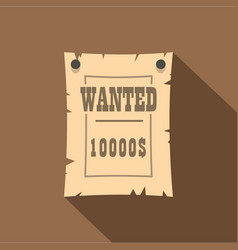 Vintage wanted poster icon flat style vector