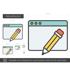 Data editing line icon vector