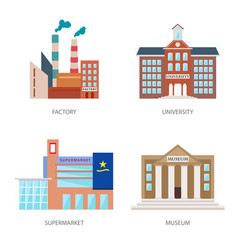 Set of urban buildings in a flat style factory vector