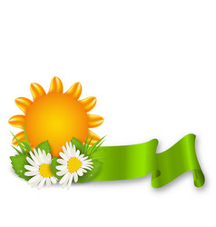 Happy summer background with chamomiles flowers vector