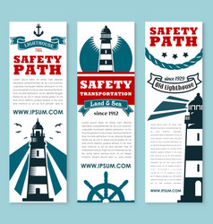 Lighthouse nautical safety banner set design vector
