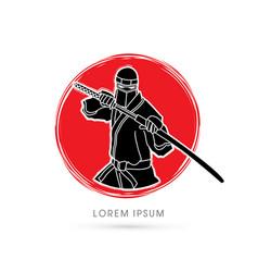 Ninja and sword vector