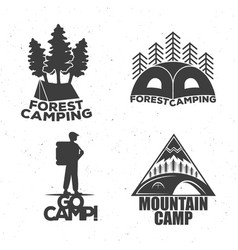 a camping set of logos for travelers a tent a vector image