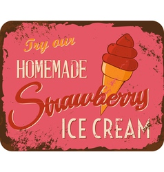 Vintage ice cream tin sign vector