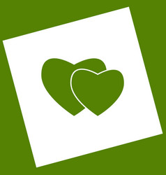 Two hearts sign white icon obtained as a vector