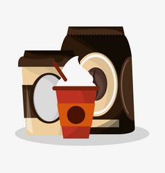Packaking of coffee with set glass disponsable for vector