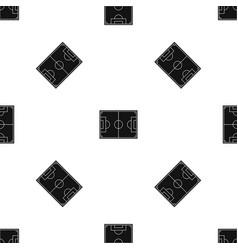 Soccer field pattern seamless black vector