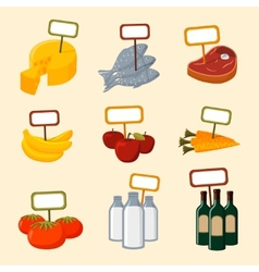Supermarket foods items with blank signs vector