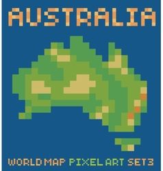 Pixel art style of continent australia physical vector