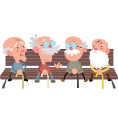 Elderly people on a bench vector