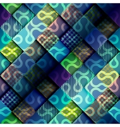Blue relief patchwork pattern vector