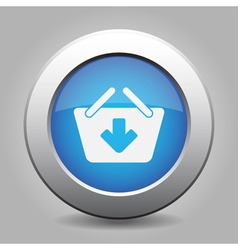 blue button - shopping basket add vector image