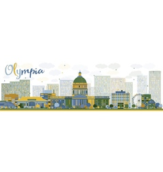 Abstract olympia washington skyline vector