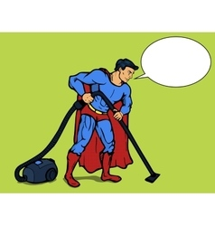 Superhero man with vacuum cleaner pop art vector