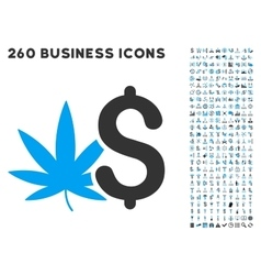 Cannabis business icon with flat set vector