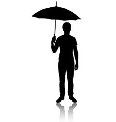 Silhouette of man with umbrella vector