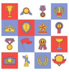 Award icons set flat line vector image vector image
