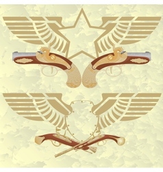 Badges with wings and ancient weapons vector