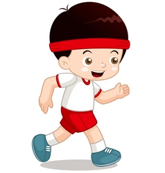 Boy jogging vector
