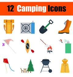 Flat design camping icon set vector
