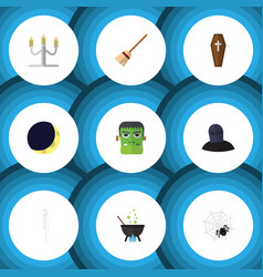 Flat icon celebrate set of monster tomb vector