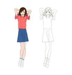 Girl denim fashion asian color no1 vector