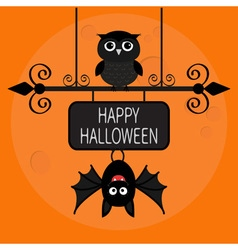 Happy halloween card bat hanging on wrought iron vector