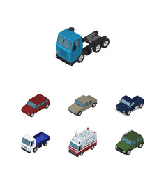 Isometric automobile set of car truck auto and vector