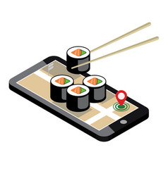 Isometric city food delivering sushi mobile vector
