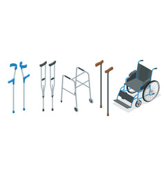 isometric set of mobility aids including a vector image vector image