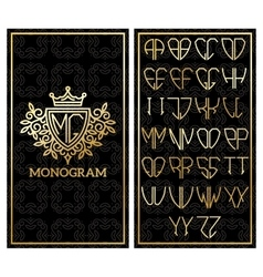 Retro card with monogram and a set of letters for vector image vector image