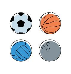set flat icon ball sport vector image vector image