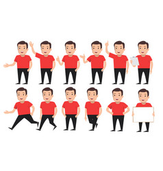 Set of a guys in different poses vector