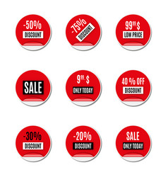 set of red paper stickers of discount and sale vector image