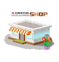 Shop market building vector