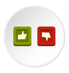 Signs hand up and down in squares icon circle vector