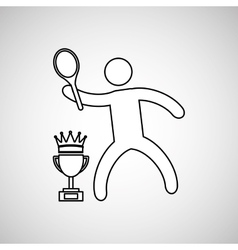 silhouette person tennis winner sport vector image
