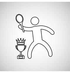 Silhouette person tennis winner sport vector