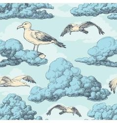 Sky seamless pattern clouds and birds vector image vector image