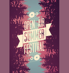Summer festival open air typographical poster vector