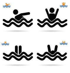 swimming icon vector image