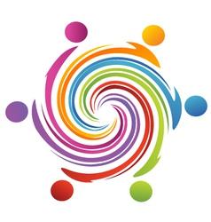 Teamwork swirl rainbow vector image