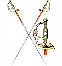 two crossed ceremonial sword vector image