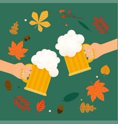Two hands holding beer glass beer autumn festival vector