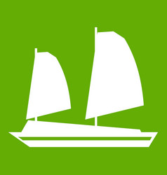 Vietnamese junk boat icon green vector