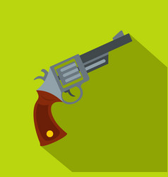 Vintage revolver icon flat style vector